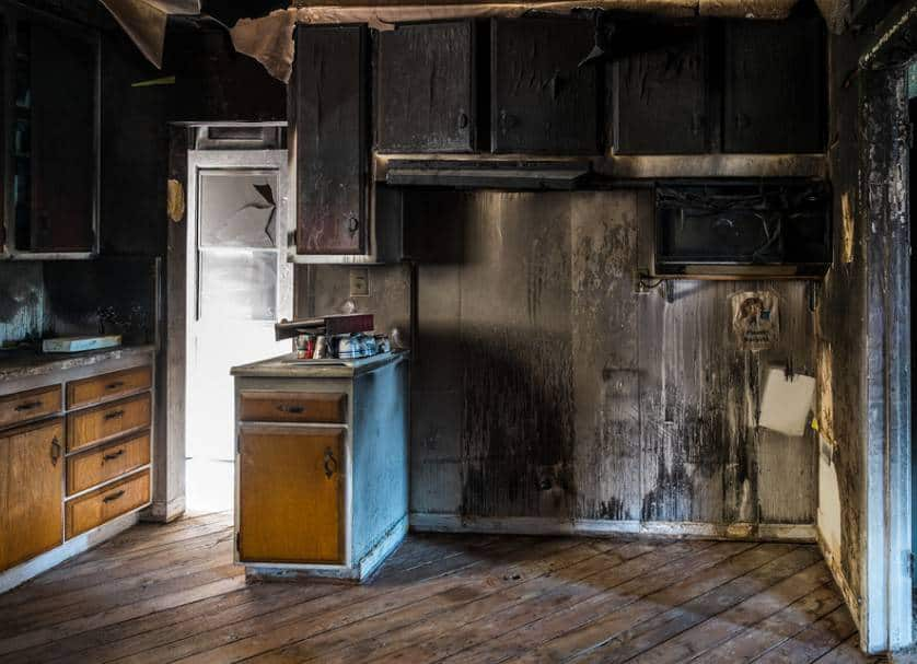 Interior of a home damaged by fire in Minneapolis